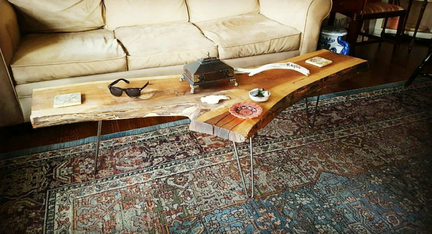 Salvaged live edge wood coffee table with hairpin legs. - Reclaimed Wood Furniture And Decor Out Of Ocean Grove, NJ €� Asbury