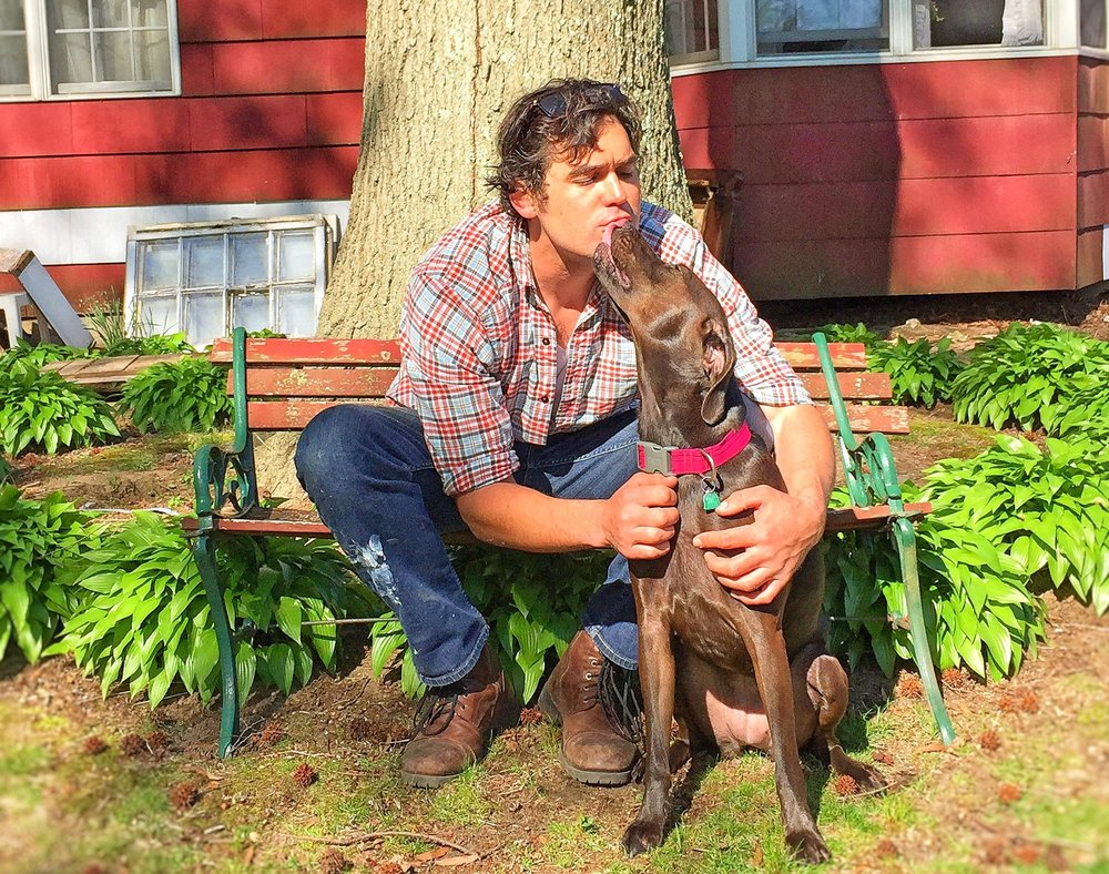 Brian and his dog Gypsy Queen outside of their home in Ocean Grove, New Jersey.