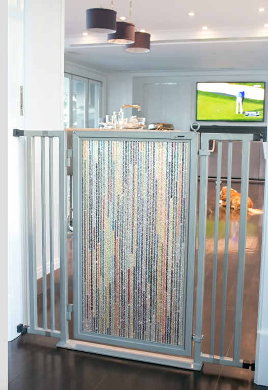 "42"" Fusion Gate with Modern Lines art screen in Satin Nickel finish."