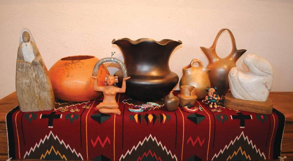 Taos Pueblo Art: Ned Archuletta, Bernadette Track, Dawning Pollen Shorty, Angie Yazzie, Michael and Casandra Dukapoo, Glenn Gomez, Joe Gomez, Pob Calle, Arron Mirabal, Tseme, John Suazo.