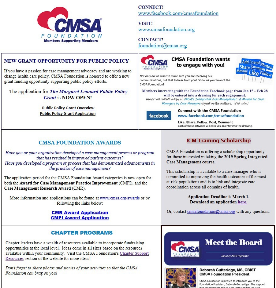 2019 Winter News - Click on the Newsletter to learn more about what's happening with the CMSA Foundation.