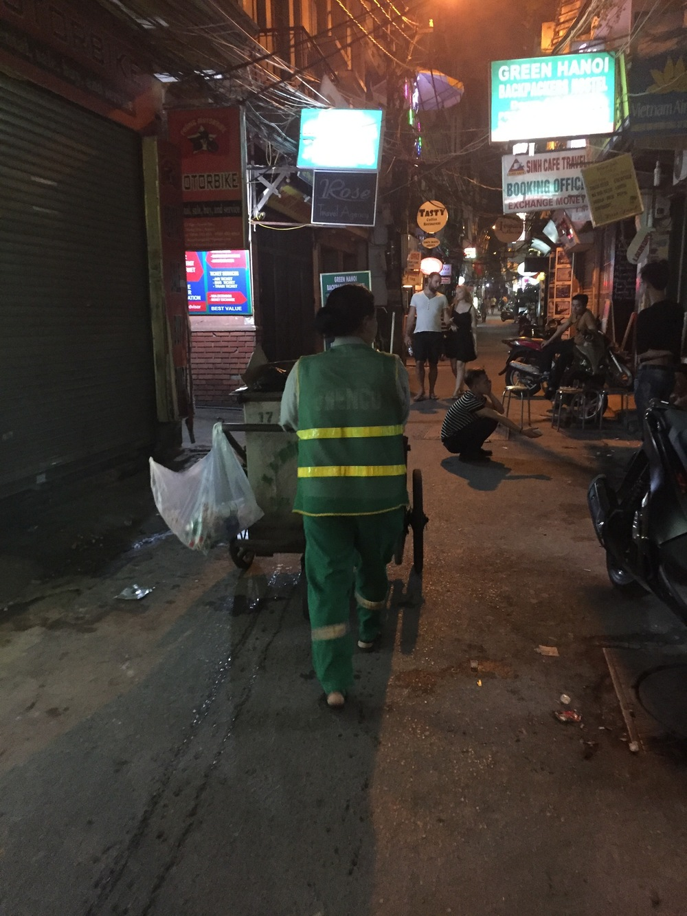 A Garbage Collector Making Her Nightly Rounds