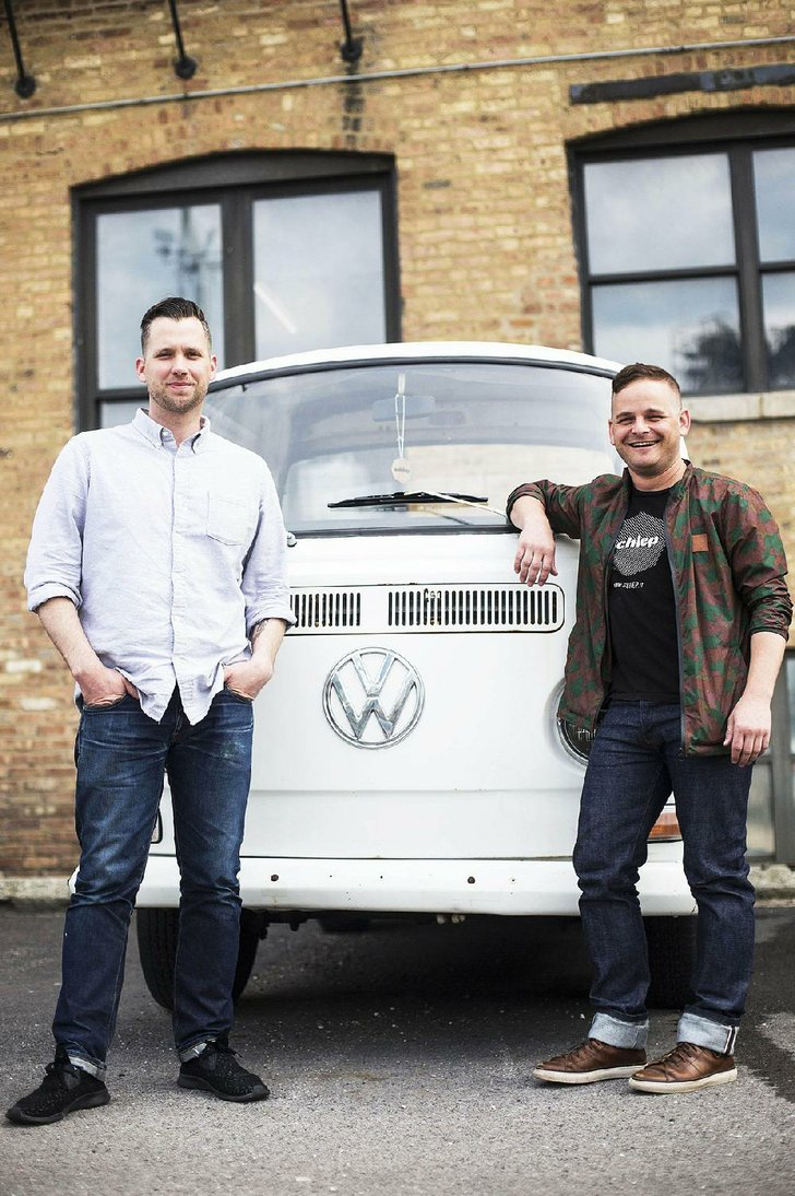 Photo by Special to the Democrat-Gazette  John Godwin (left) and Hunter Riley, childhood friends from North Little Rock, have started a company in Chicago that pairs people with pickups and other large vehicles with customers needing items moved.