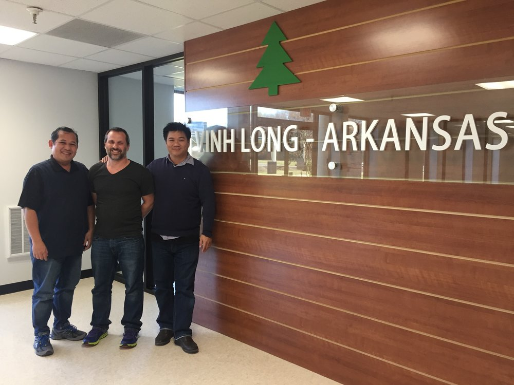 Dung Tran (left) Danial Evans and Le Thai Tinh of Vinh Long, a Vietnamese manufacturing company that will open in Morrilton