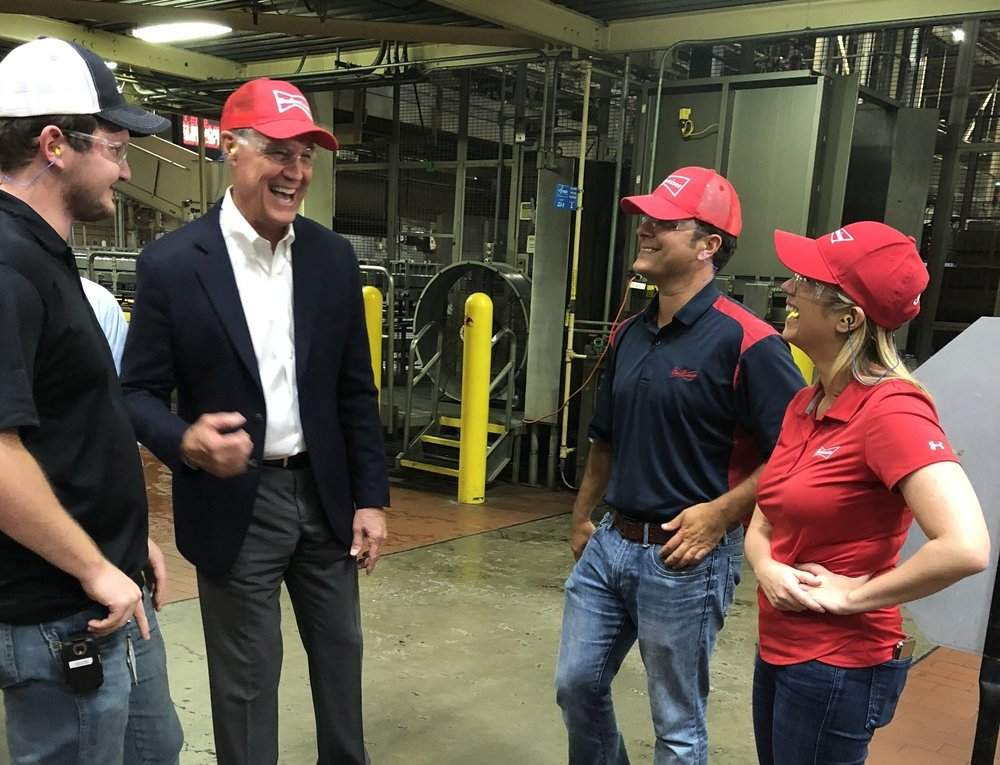 Sen. David Perdue visits a Budweiser factory in Cartersville