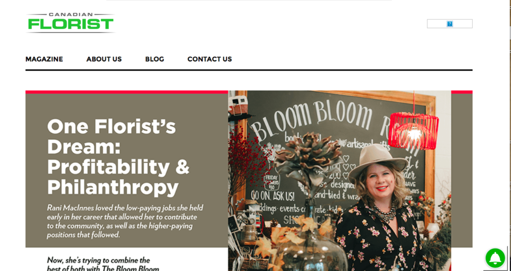 So honoured and thrilled to be 'in the spotlight' for the National Canadian Florist Magazine! Thank you!