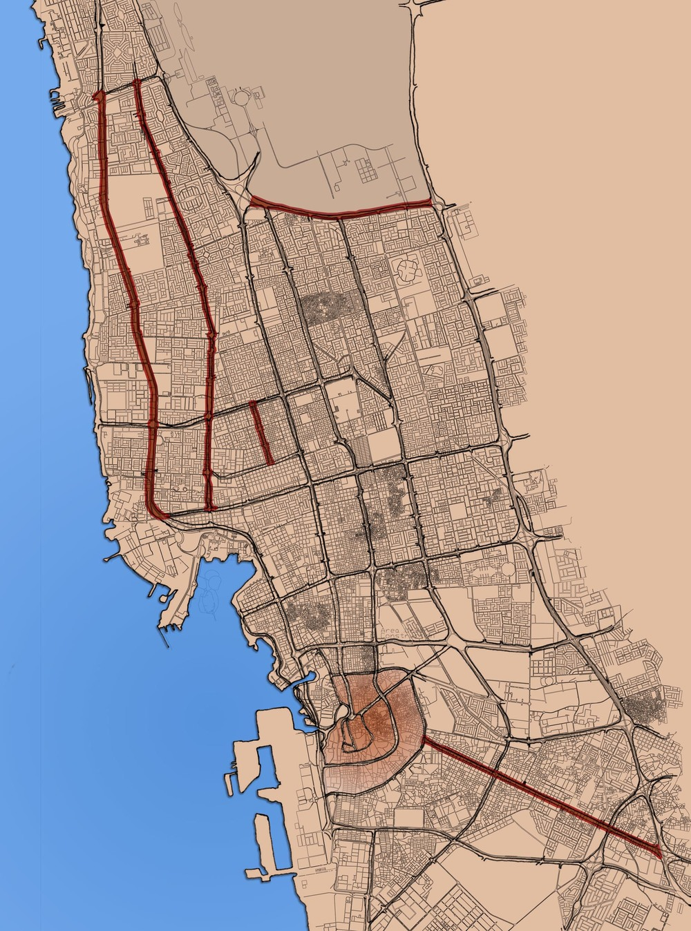 Map of the 44 km of streets studied