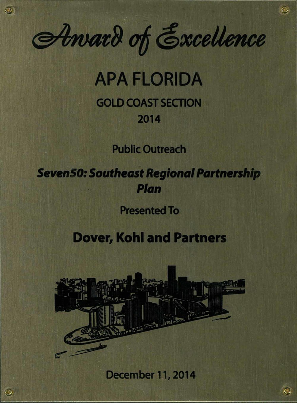2014-Award of Excellence for Best Practice Seven50 Southeast Florida Regional Partnership Plan.jpg