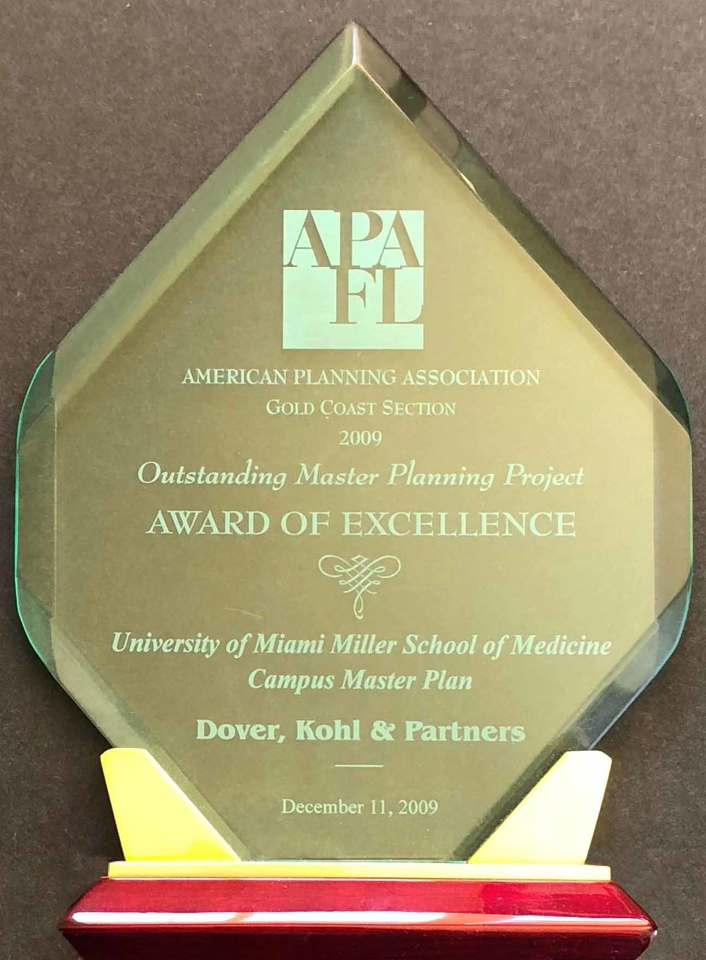 2009-Outstanding Master Planning Project, Award of Excellence for the University of Miami Miller School of Medicine Campus Master Plan.jpg