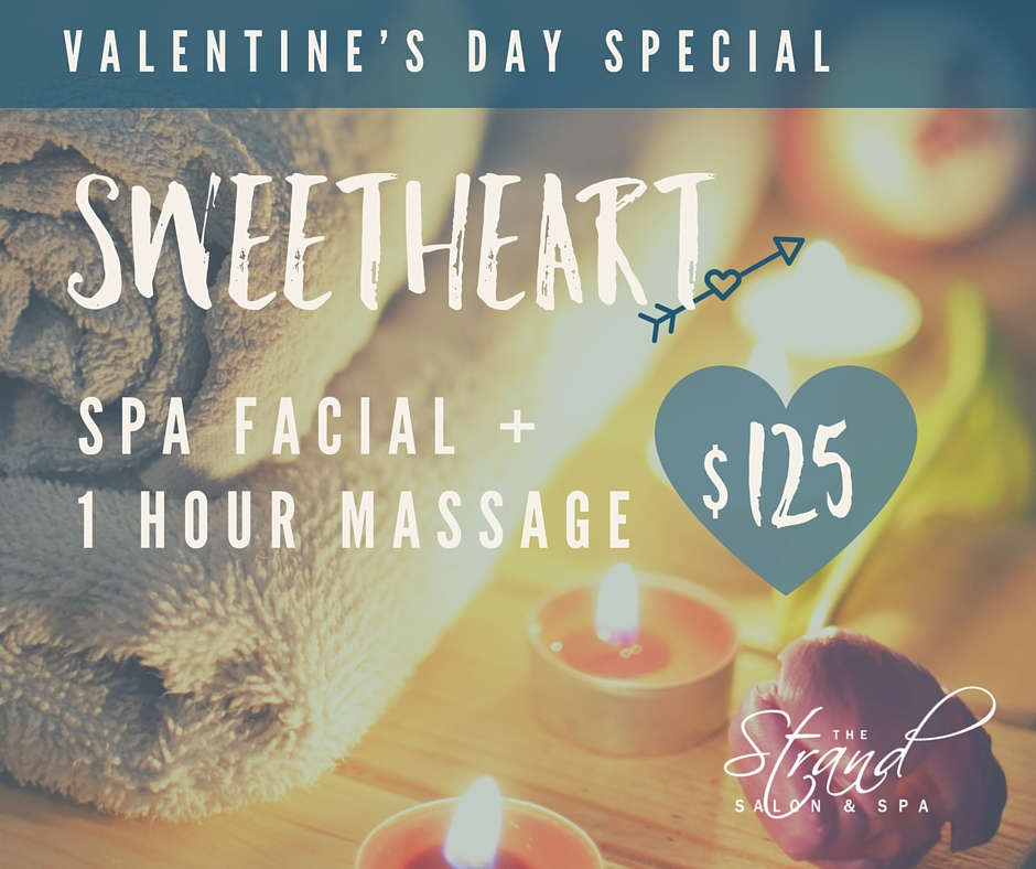 Spa facial and one hour massage for $125 with the Valentine's day special at the Strand Salon & Spa in Columbia, MO.