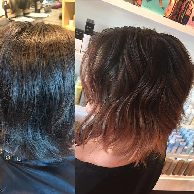 Someone is getting that fall hair ready with this beautiful warm-toned, copper, balayage by @marginmissy!! #balayage #curly #hair #hairinspo #beforeandafter #aveda #redken #joico #hairstyles #beautiful #copper #warm #fallhair