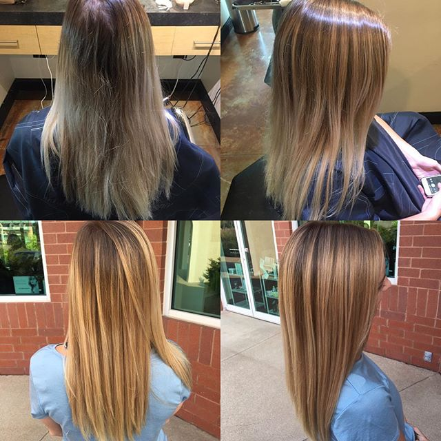 Balayage touch-up to @carraee done by @taylorrneacoleman! #balayage #blonde #blondehair #redken #aveda #joico #beautiful #blended #hair #hairstyles #hairinspo #beforeandafter #thathairtho #blondeshavemorefun