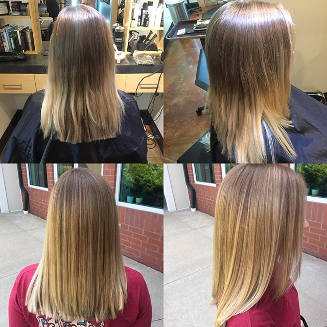 Old balayage brought back to life and a good healthy trim for the end-of-the-summer beauty! By @taylorrneacoleman #balayage #hair #hairstyles #haircolor #blonde #hairinspo #beforeandafter #beautiful #blended #aveda #joico #redken