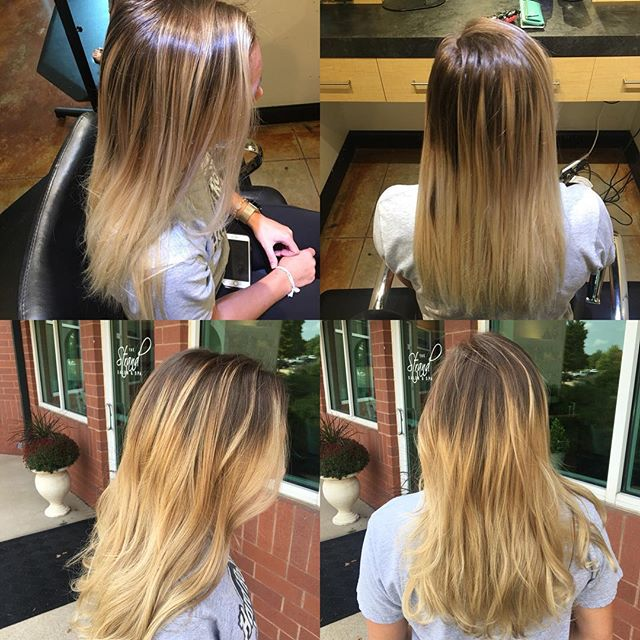 Breaking that line up and warming the blonde to get ready for fall! Done by @taylorrneacoleman #blonde #hair #hairstyles #hairstylist #hairinspo #beforeandafter #curls #balayage #redken #aveda #joico #blend #nofilter