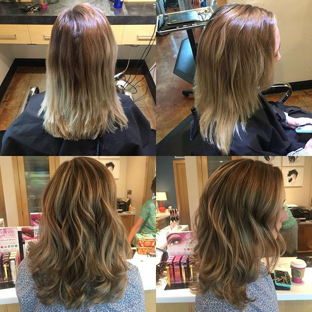 The goal: break up the top with some light and break up the bottom with some dark. @taylorrneacoleman checked that off ✔️✔️✔️✔️✔️✔️✔️#balayage #color #colorcorrection #fallhair #hair #hairstyles #hairinspo #beforeandafter #beautiful #curls #pretty #aveda #joico #redken #love