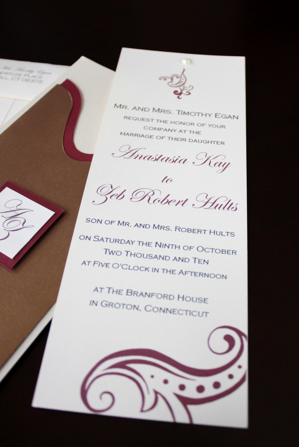 Skinny Black Tie Wedding Invitations