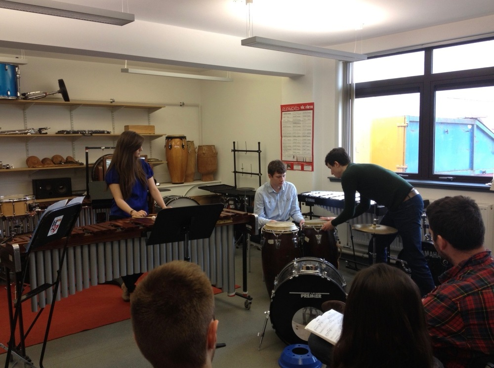 With percusion students of the University of Aberdeen after London Percussion's masterclass and concert there