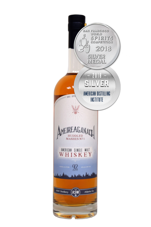 ASW Distillery - Atlanta's hometown craft bourbon rye malt whiskey distillery - Ameireaganach Huddled Mashes No. 1 white background with silver medal for website.jpg