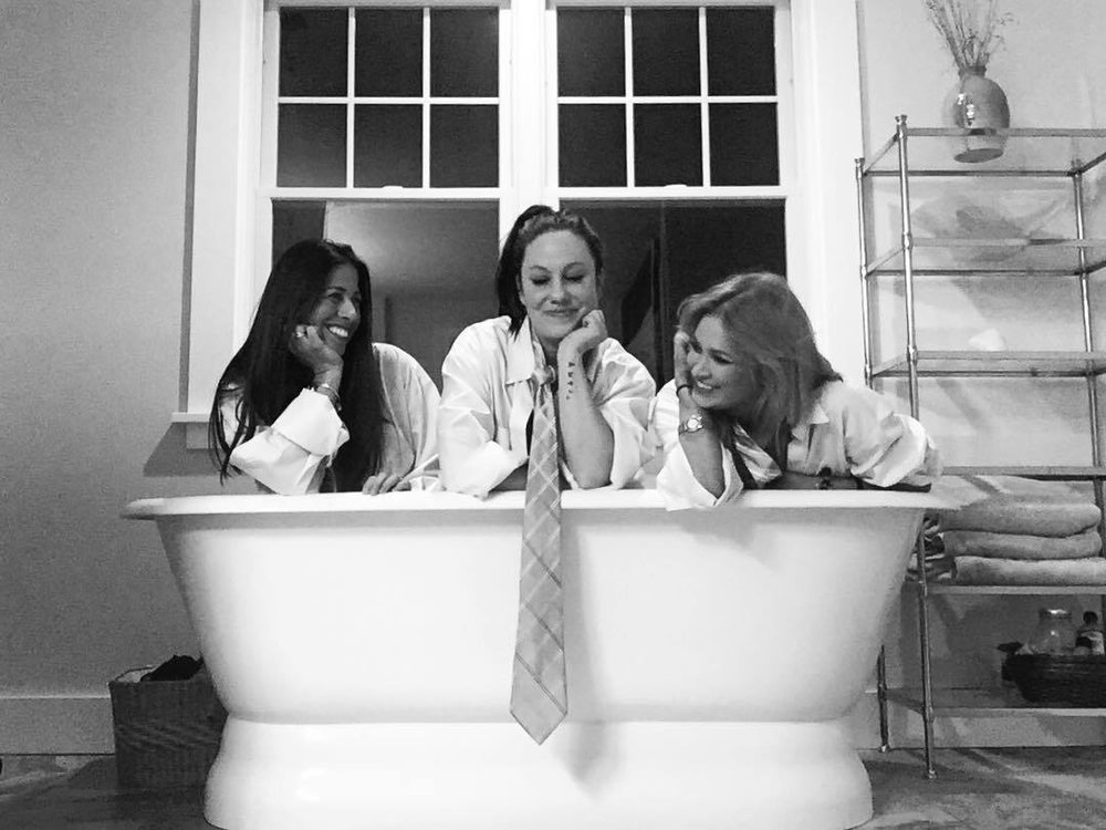 @gcicma @ladyfegee and I in my tub. Everyone keeps asking what we were doing. The truth is we don't know and we won't know and it doesn't matter so we are silly and at home together. What we were doing exactly - save your judgement - simply explaining: I found three Trump ties (all announcing they were made in China…) prior to my girls coming I set them aside in their rooms. I explained this upon their arrival and we got to business and reminded ourselves my tub is largely ignored despite its comfort and retrieved three brooks brothers shirts, our presidents Chinese ties, and ourselves. This all makes sense to us somehow. There it is. #blackandwhite