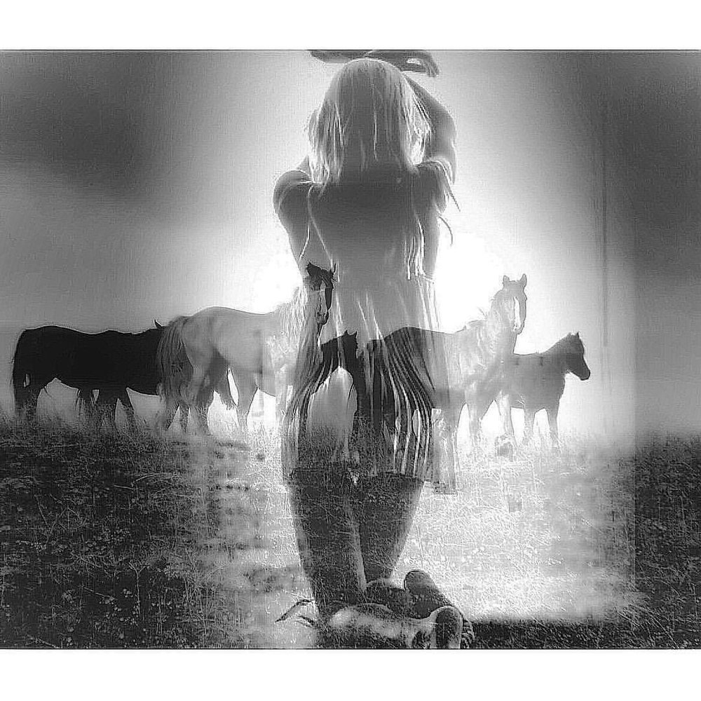Herstory. Horses and me. #paintedbylight #blackandwhite