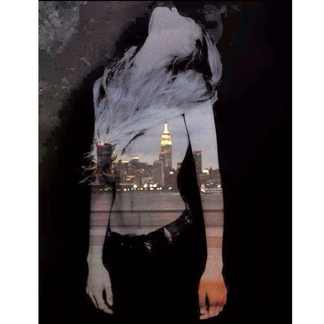 Breathe in #nyc #doubleexposure #hoboken #night   Happy Tuesday! 💋