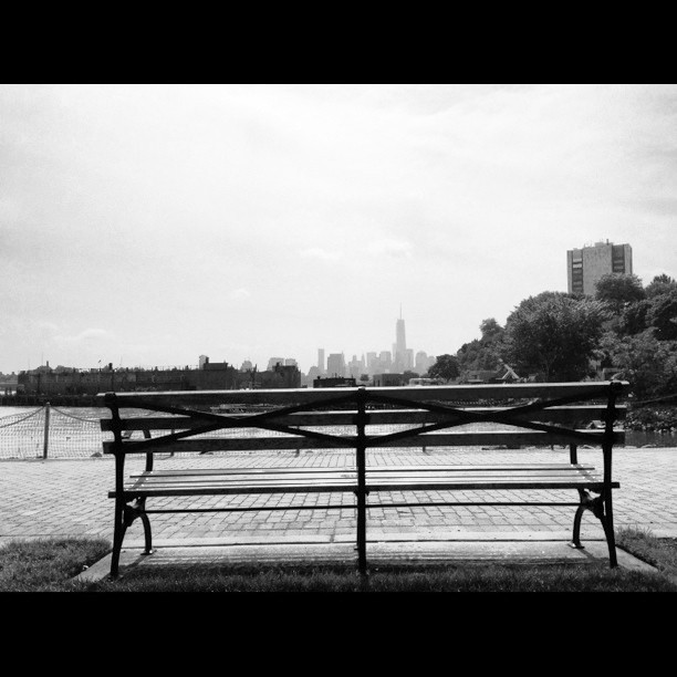 From #hoboken, one can see #libertytower. Behind the bench with a view. #paintedbylight #noirvue #nyc #nj