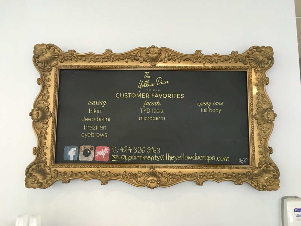 chalkboard of spa services materals: chalk, adhesive chalk paper