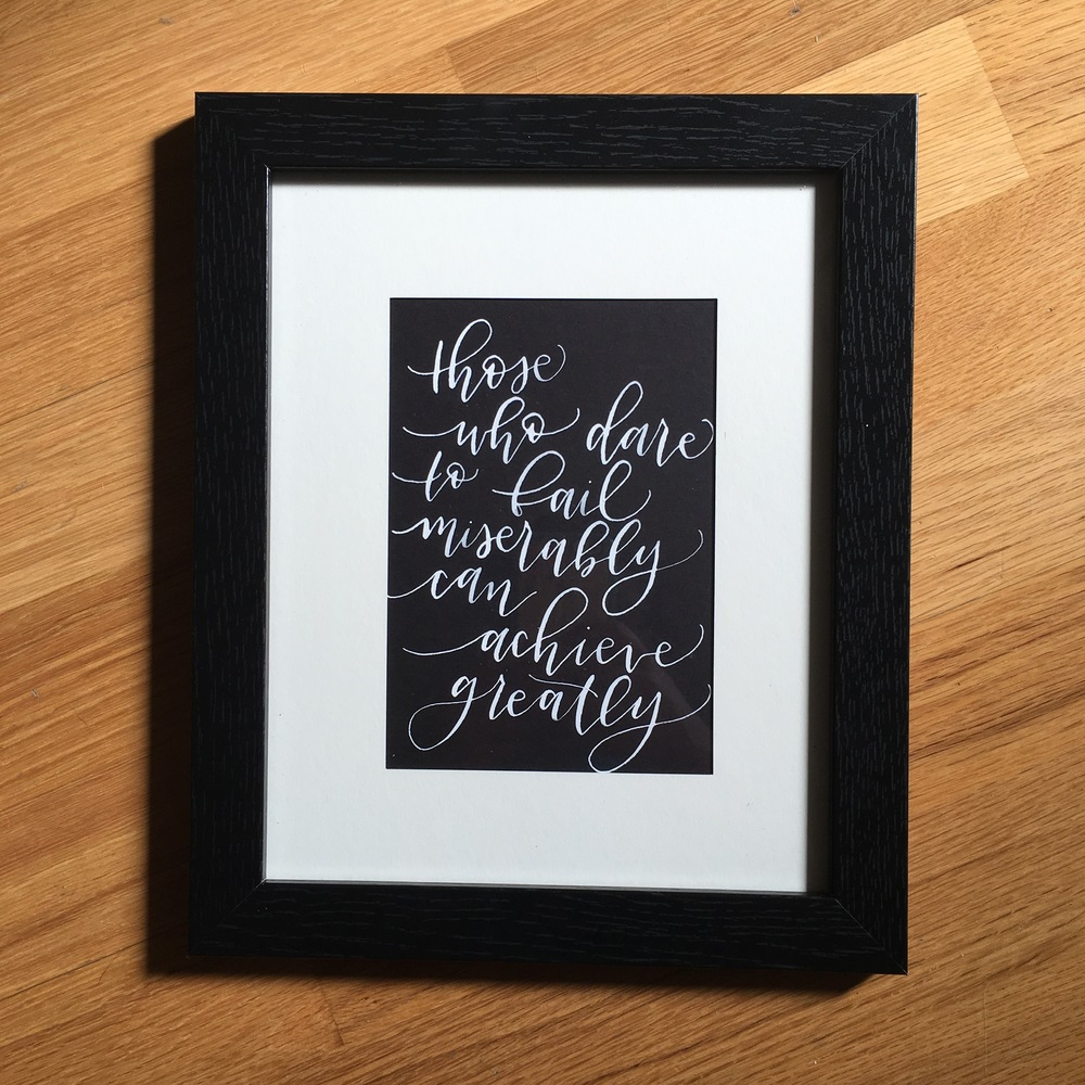5x7 quote print materials: pointed pen, dr. ph. martin's pen-white ink