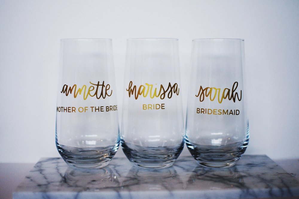 bride, bridesmaid, mother of the bride cups
