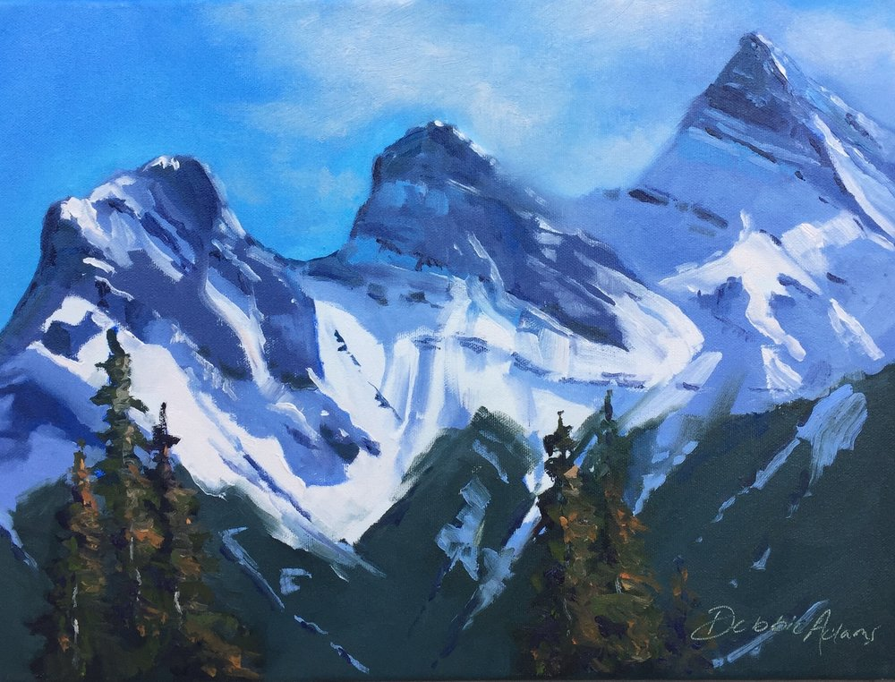Three Sisters Canmore - 12x16 Oil