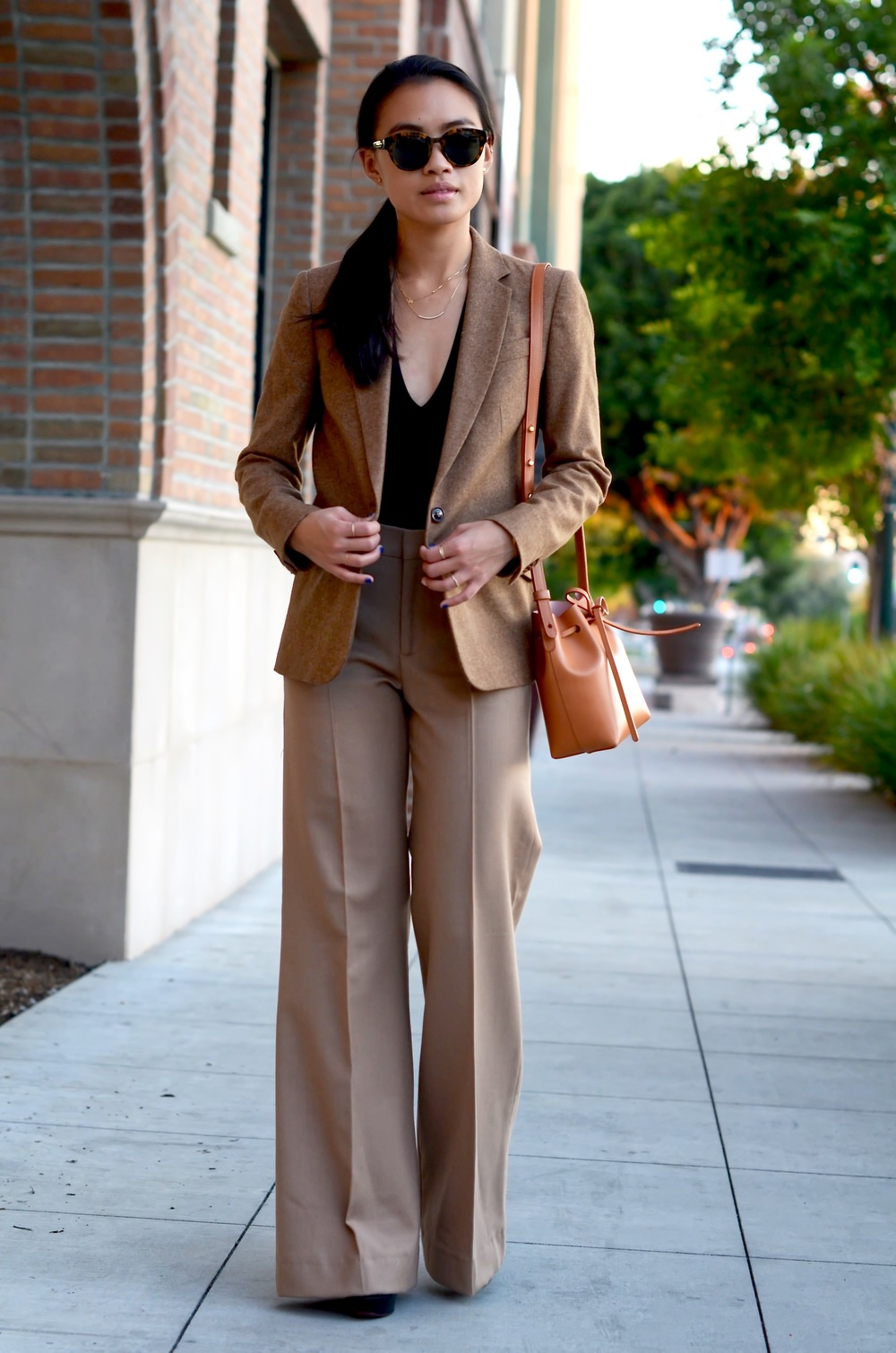 Just Goh With It-Outfit-shopstyle-dressforsuccess-zara-camel-wide-leg-pants-massimo-dutti-blazer-mansur-gavriel-mini-bucket-bag-1.jpg