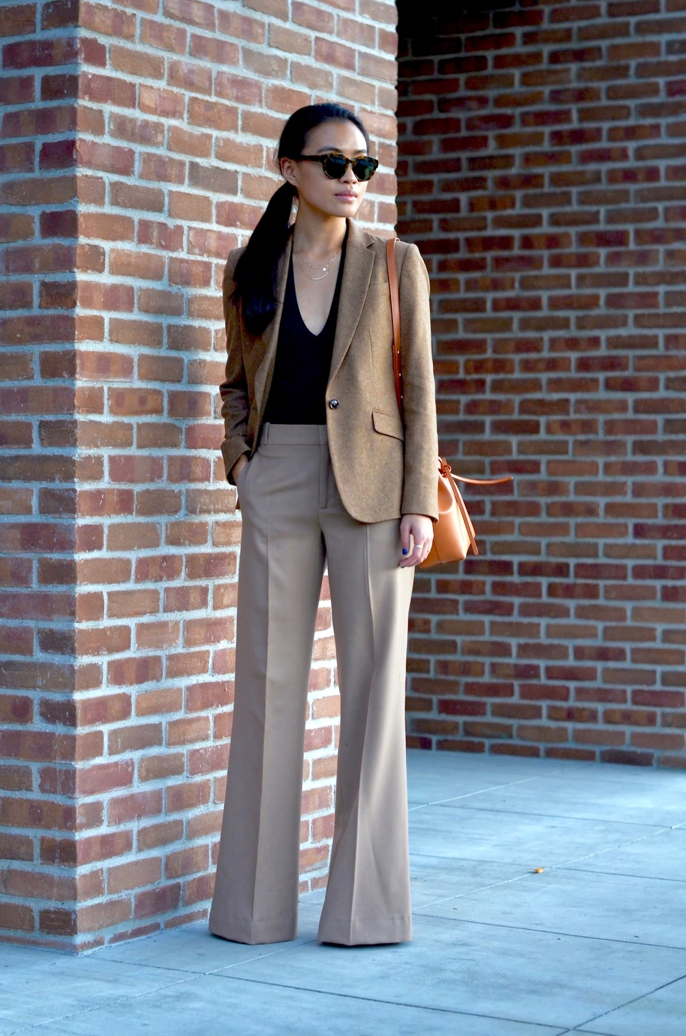 Just Goh With It-Outfit-shopstyle-dressforsuccess-zara-camel-wide-leg-pants-massimo-dutti-blazer-mansur-gavriel-mini-bucket-bag-3.jpg