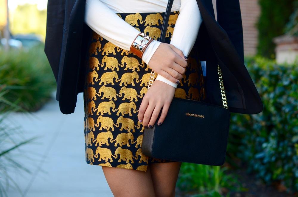 Just Goh With It-Outfit-jcrew-jacquard-statement-skirt-turtleneck-black-theory-blazer-michael-kors-bag-topshop-lace-up-flats-4.jpg