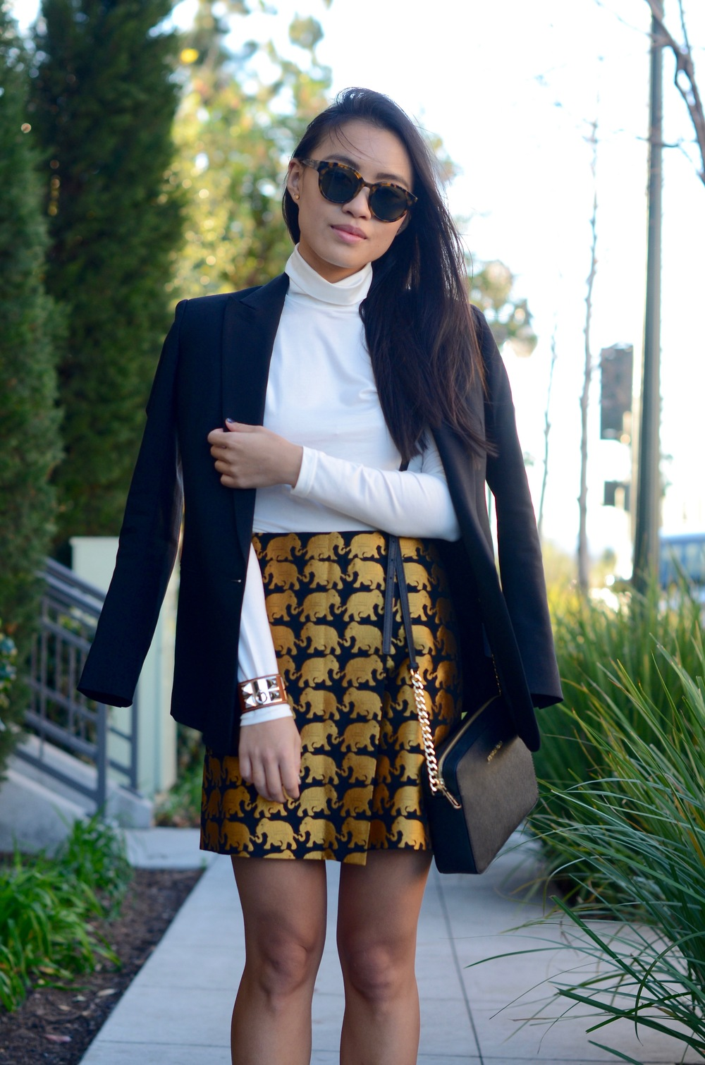 Just Goh With It-Outfit-jcrew-jacquard-statement-skirt-turtleneck-black-theory-blazer-michael-kors-bag-topshop-lace-up-flats-6.jpg