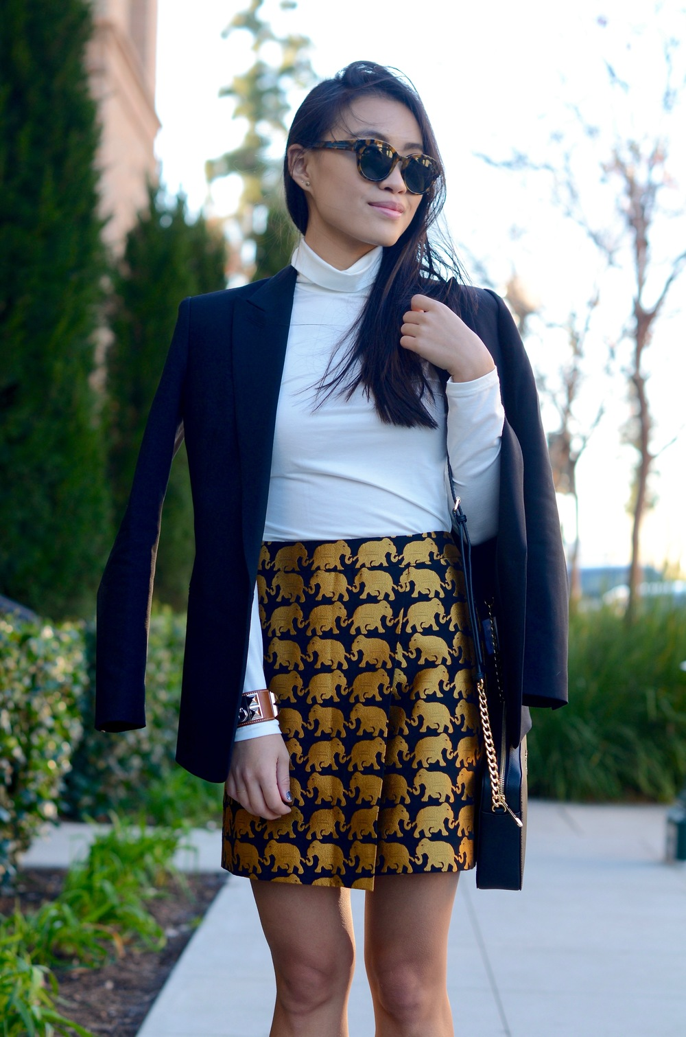 Just Goh With It-Outfit-jcrew-jacquard-statement-skirt-turtleneck-black-theory-blazer-michael-kors-bag-topshop-lace-up-flats-5.jpg
