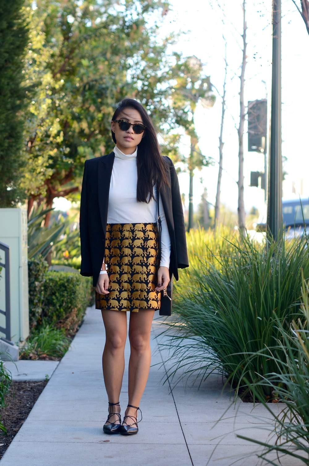 Just Goh With It-Outfit-jcrew-jacquard-statement-skirt-turtleneck-black-theory-blazer-michael-kors-bag-topshop-lace-up-flats-7.jpg