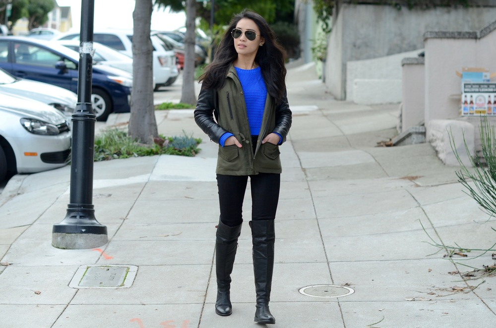 Just Goh With It-Outfits-club-monaco-parka-vince-leather-pants-all-saints-over-the-knee-boots-louis-vuitton-scarf-5.jpg