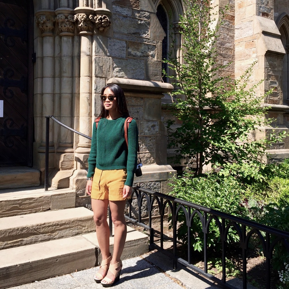 Just Goh With It-Outfit-American-Apparel-forest-Green-Sweater-Zara-Mustard-Yellow-Shorts-dvf-wedges-1.jpg
