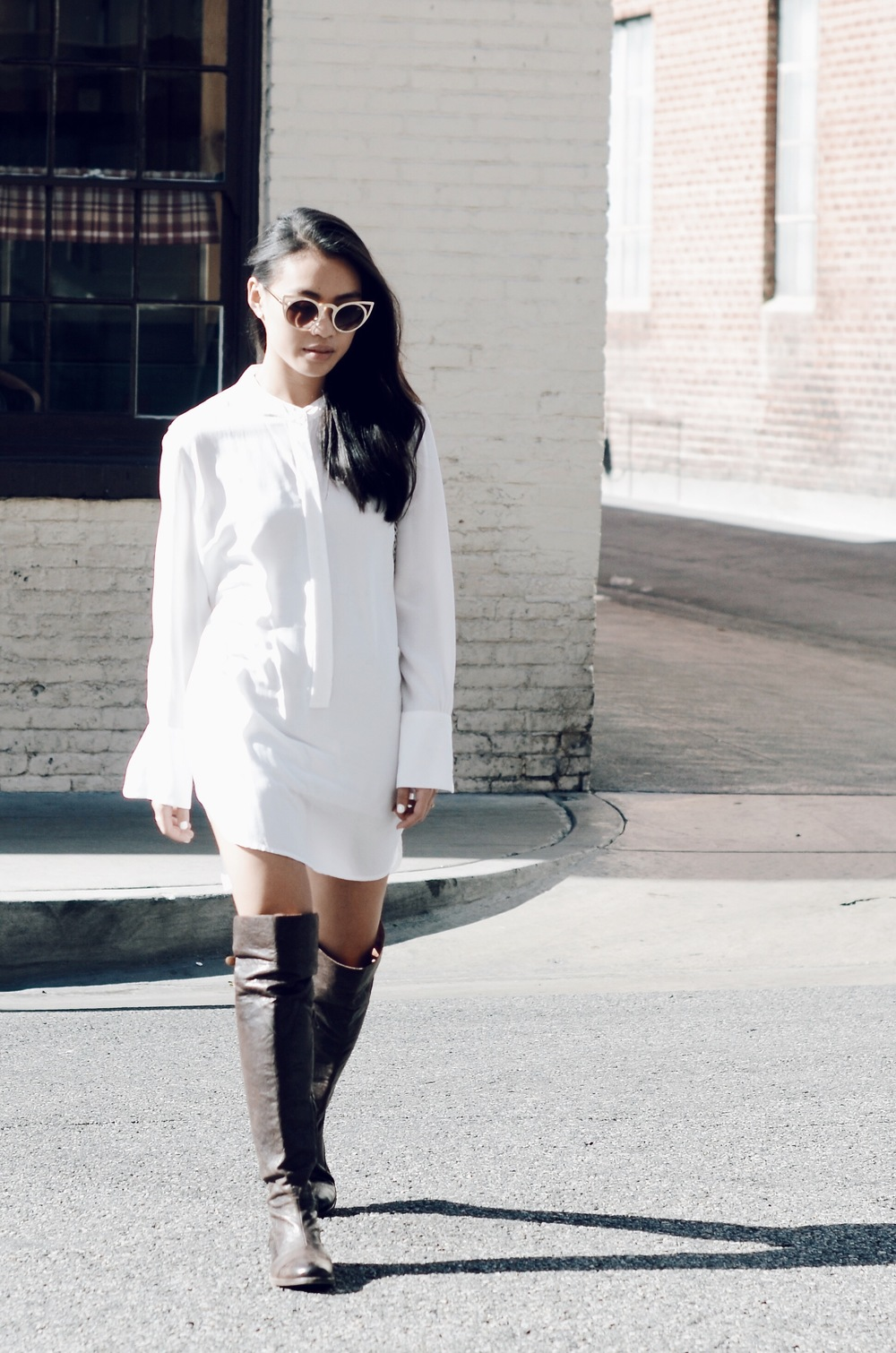 Just Goh With It-Outfit-white-silk-dresss-over-the-knee-boots-cat-eye-classic-chanel-1.jpg