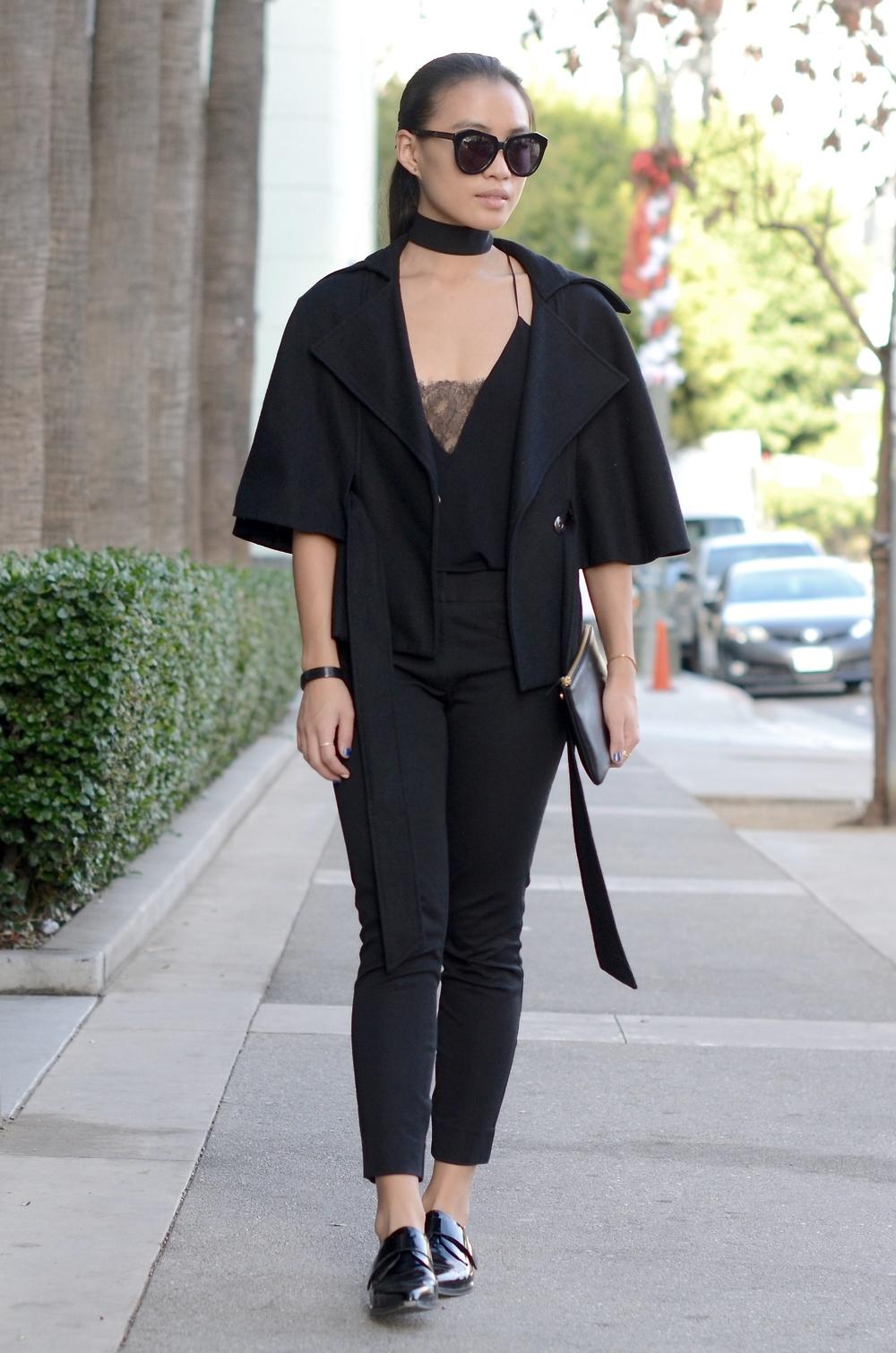 Just Goh With It-Outfit-zara-black-lace-top-gap-pants-max-mara-coat-cape-celine-3.jpg