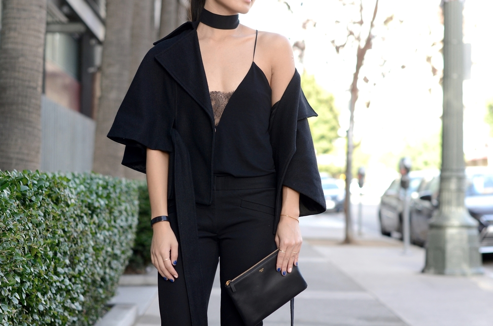 Just Goh With It-Outfit-zara-black-lace-top-gap-pants-max-mara-coat-cape-celine-2.jpg