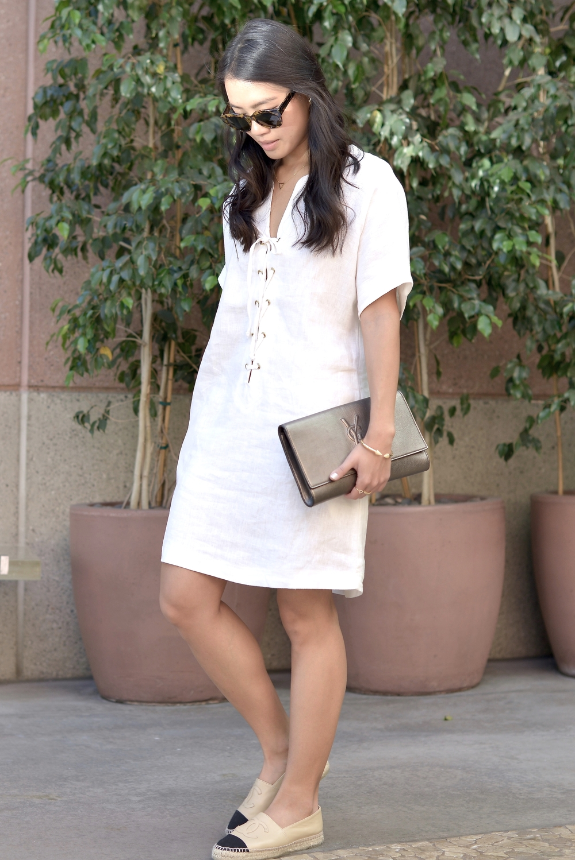 Just Goh With It-Outfits-Reformation-lace-up-dress-chanel-espadrilles-saint-laurent-clutch-3.jpg