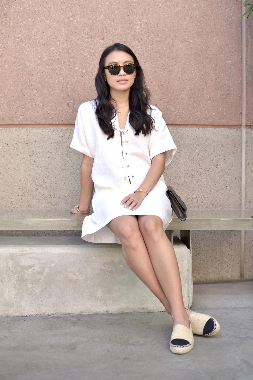 Just Goh With It-Outfits-Reformation-lace-up-dress-chanel-espadrilles-saint-laurent-clutch-6.jpg