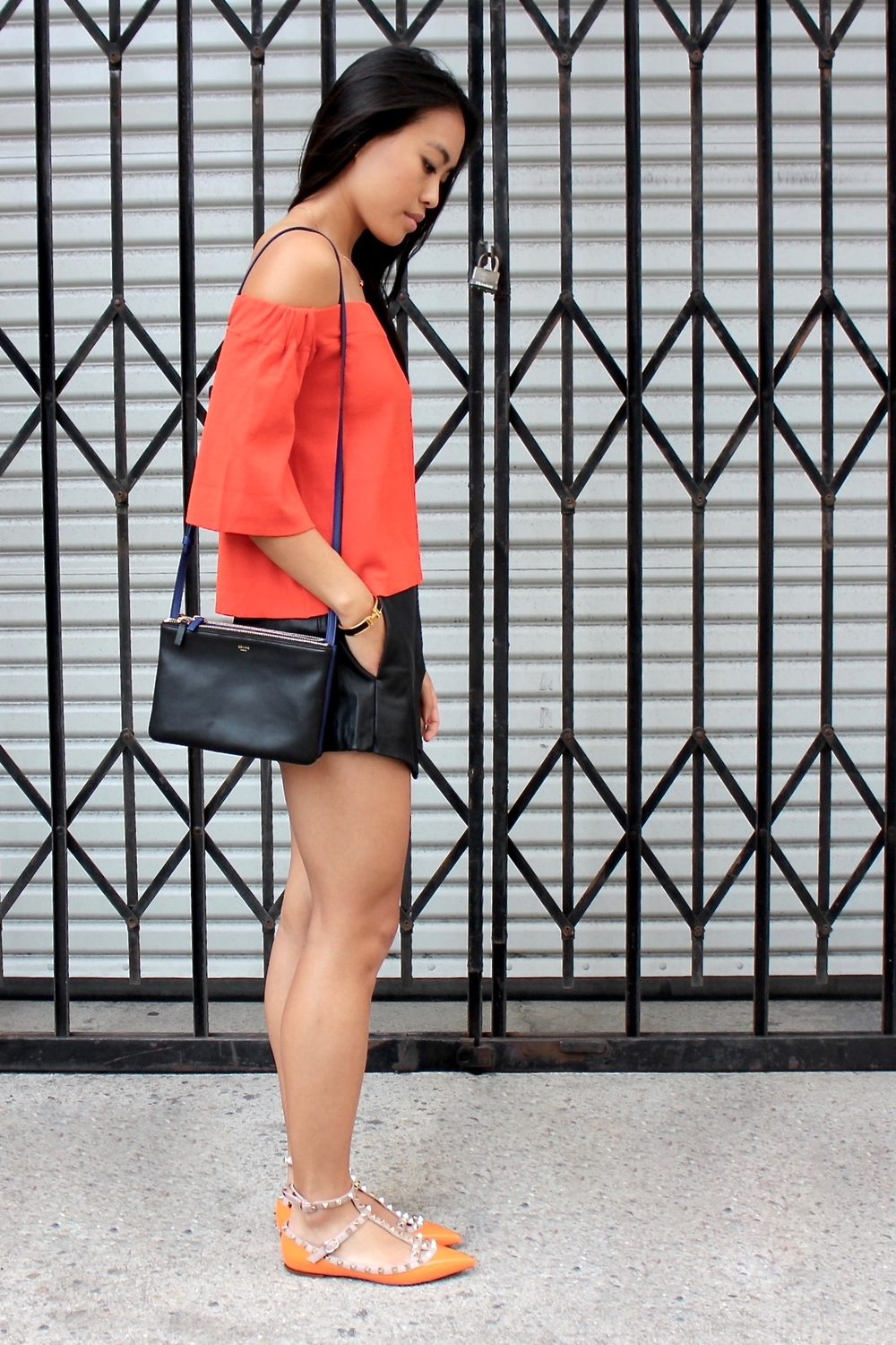 Just Goh With It-Outfit-Asos-Orange-Off-Shoulder-Top-Zara-black-Leather-Skirt-Skort-valentino-rockstud-flats-5.jpg