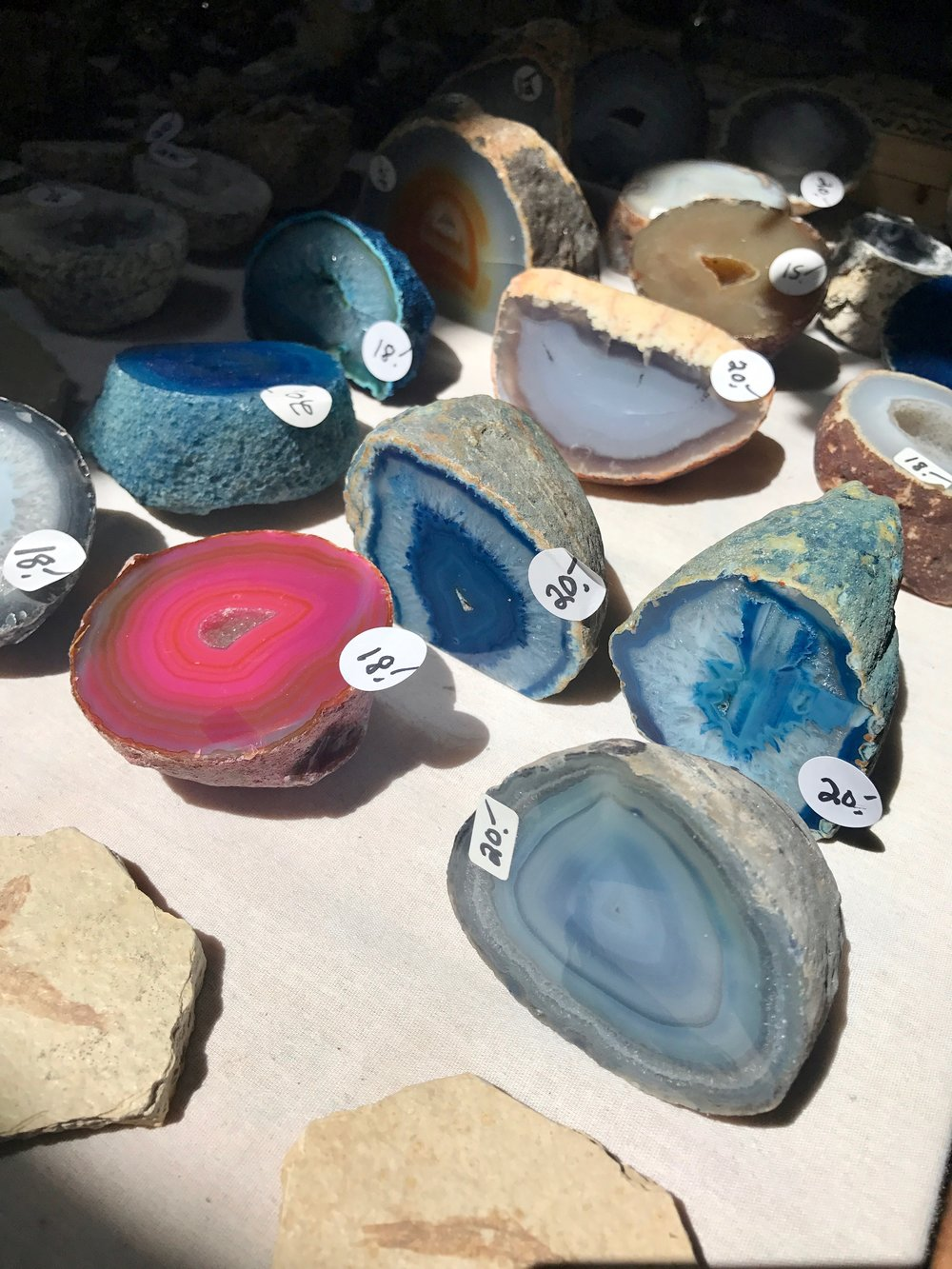 geodes at the trading post in cerrillos. too much fun shopping for rocks here.