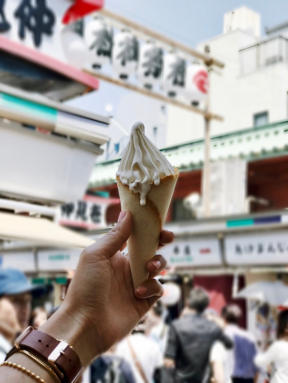 Only the best ice cream ever. Milky, soft served, inside a buttery cone.