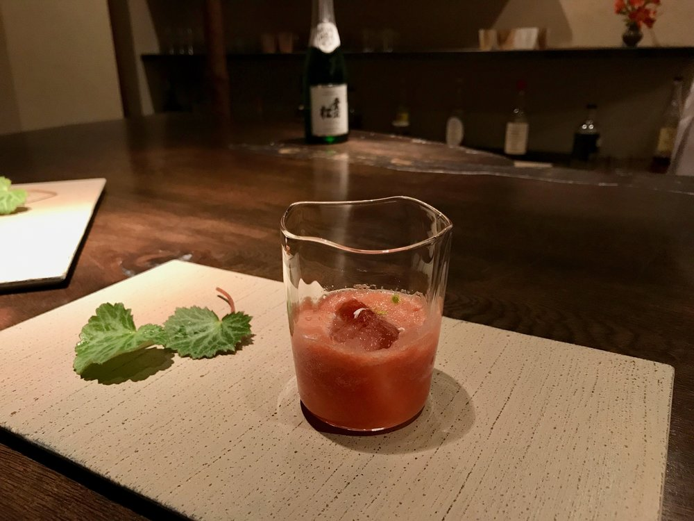 Yummy watermelon slushy cocktail, one of the 6 from our tasting menu!