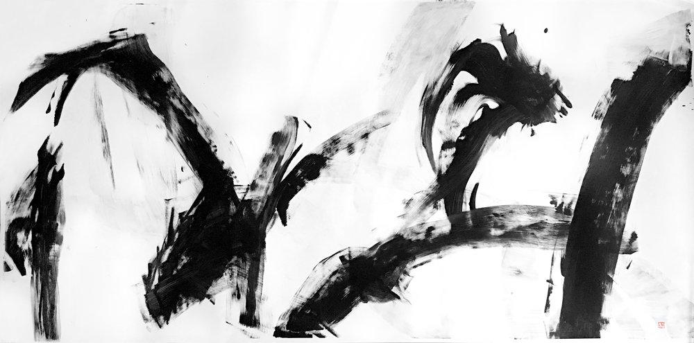 """Kagemusha. 74"""" x 36"""". Acrylic on paper. 2017"""