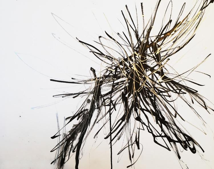 "Spiky 2. 18""x24"". Acrylic on paper. 2016"