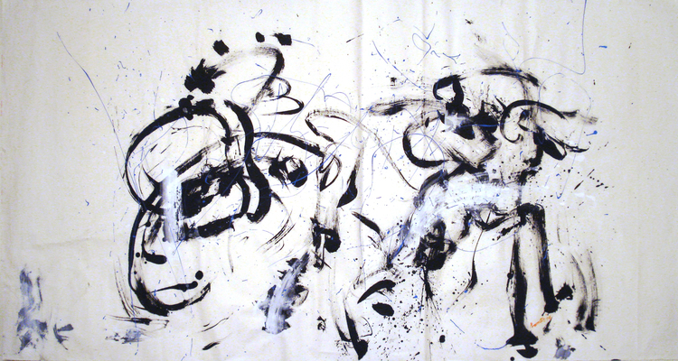"""Dancing Crows in Rain. 71"""" x 39"""". Charcoal ink, water color on rice paper. 2014"""
